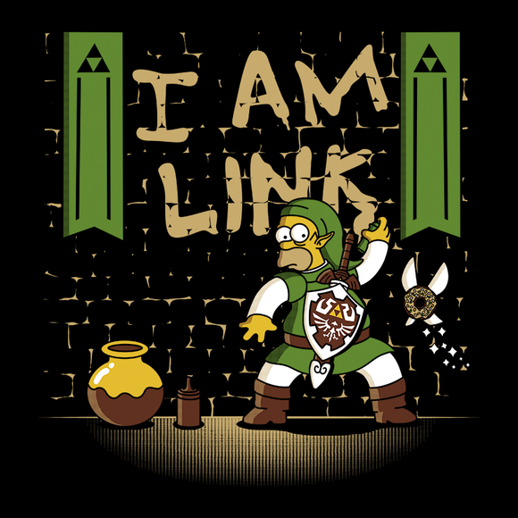 I Am Link - Video Game Pixel T-Shirts & Retro Gaming Tees!, Zelda, TLOZ, The Legend of Zelda, Link, Simpsons, Mashup, OOT, Funny, Breath of the Wild, N64, Ocarina of Time, Homer Simpson, Doughnut, BOTW, Nintendo 64, Olipop, Tv Series, Cartoon, Ha, Women, Men, Kids, Cotton, Tank, Long Sleeved, Shirt