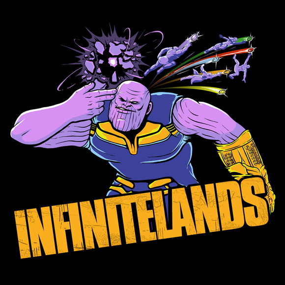 Infinitelands - Video Game Pixel T-Shirts & Retro Gaming Tees! - Claptrap, Borderlands, Psycho, Bandit, Crazy, Gun, Finger Gun, Badass, Mashup, Space, Sci-Fi, Science Fiction, Comic, Superhero, Titan, Space, Infinity, Gems, Stones, Gauntlet, Infinite, Men, Women, Kids, Clothes, Tees