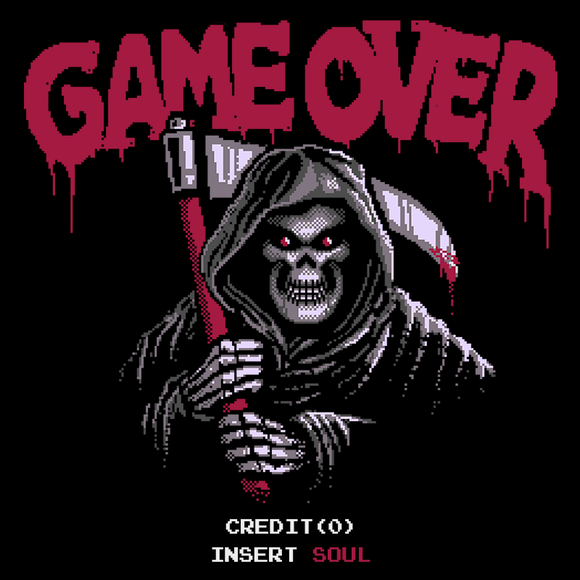 Insert Soul - Video Game Pixel T-Shirts & Retro Gaming Tees! Dark Souls, 8-Bit, Pixel, , Playstation, Game Over, No Lives, Halloween, Horror, Grim Reaper, Dead, Lordran, Bells of Awakening, Typhoonic, Cult Horror, Arcade, Insert Coin, You Are Dead,Grim Reaper, Dead, Maniac, Scream, Women, Men, Kids, Cotton, Tank, Long Sleeved, Shirt