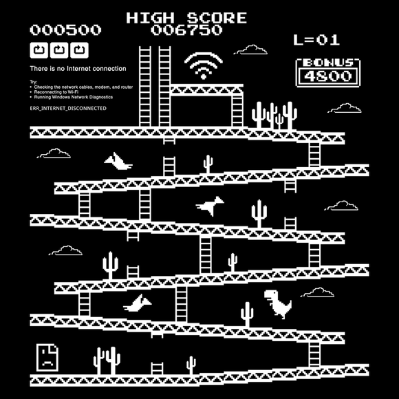 Internet Park - Retro and Pixel Video Game T-shirts - Pixel, Retro, Internet, Wi-Fi, Dionsaur, Parody, Mash Up, Cute, Geek, Nerd, No Connection, Web, Website, No Connection, T-Rex, Extinct, Nes, 8-Bit, Donkey Kong, Nintendo, NES, Arcade
