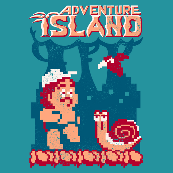 Island Adventure - Retro and Pixel Video Game T-shirts - Caveman, Skateboard, Bird, Island, Adventure, 8Bit, Nes, Nintendo, Jungle, Snail, 80s, Retro, Hammer, Arcade, 1988, Master Higgins, Women, Men, Tees