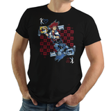 Shop like a gamer. PixelRetro is your best destination for Video Game T-Shirts for Men and Women. Unisex Tee with a great fit. Sora from Kingdom Hearts on a Black or Navy Blue T-Shirt. Fun King playing card design with a unique Evil Sora, Heart, game tee.. Online shop only. Soft, durable and high quality cotton. Art By Nemons.