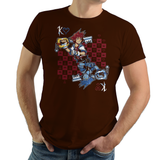 Shop like a gamer. PixelRetro is your best destination for Video Game T-Shirts for Men and Women. Unisex Tee with a great fit. Sora from Kingdom Hearts on a Brown, Chocolate T-Shirt. Fun King playing card design with a unique Evil Sora, Heart, game tee.. Online shop only. Soft, durable and high quality cotton. Art By Nemons.