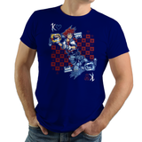 Shop like a gamer. PixelRetro is your best destination for Video Game T-Shirts for Men and Women. Unisex Tee with a great fit. Sora from Kingdom Hearts on a Royal Blue T-Shirt. Fun King playing card design with a unique Evil Sora, Heart, game tee.. Online shop only. Soft, durable and high quality cotton. Art By Nemons.
