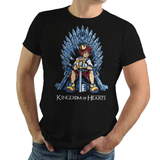 Shop like a gamer. PixelRetro is your best destination for Video Game T-Shirts for Men and Women. Unisex Tee with a great fit. Sora from Kingdom Hearts on a Black or Navy Blue T-Shirt. Fun King playing card design with a unique Mashup Sora, , Throne, Heart, game tee.. Online shop only. Soft, durable and high quality cotton. Art By Nemons.