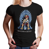 Shop like a gamer. PixelRetro is your best destination for Video Game T-Shirts for Women. Sora from Kingdom Hearts on a Black or Navy Blue Fit, Women's Fitted T-Shirt. Sora sitting design with a unique Throne, Heart, game tee.. Online shop only. Soft, durable and high quality cotton. Art By Nemons.