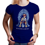 Shop like a gamer. PixelRetro is your best destination for Video Game T-Shirts for Women. Sora from Kingdom Hearts on a Royal Blue Fit, Women's Fitted T-Shirt. Sora sitting design with a unique Throne, Heart, game tee.. Online shop only. Soft, durable and high quality cotton. Art By Nemons.