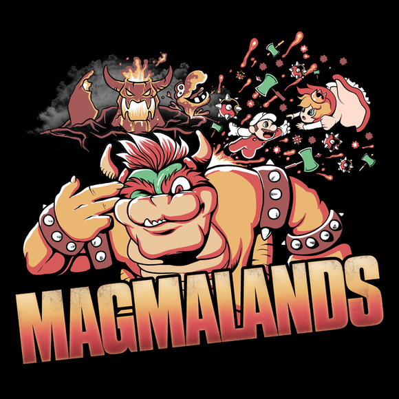 Magmalands - Video Game Pixel T-Shirts & Retro Gaming Tees! - Claptrap, Borderlands, Psycho, Bandit, Crazy, Gun, Finger Gun, Badass, Mashup, Super Mario, Bowser, Princess Peach, Magma, Lava, SMB, Mario Bros, King Koopa, Nintendo, SNES, SMW, Geek, Men, Women, Kids, Clothes, Tees