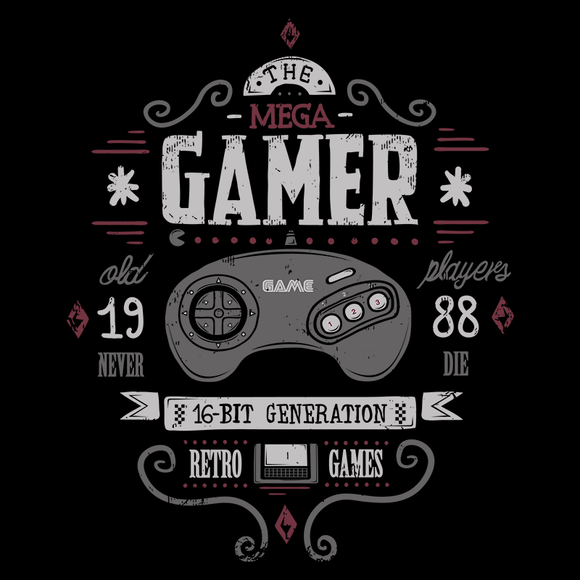Mega Gamer - Retro and Pixel Video Game T-shirts - Retro, Geek, Nerd, 1988, Japan, Japanese, Final Fantasy, Donkey Kong, Street Fighter 2, Pixel, 16-Bit, TLOZ, Mortal Kombat, Scorpion, Earthworm Jim,  Gunstar Heroes, SNK, Sega Genesis, Typhoonic, Black, Grey, Men, Women, Kids, Ladies Fit, Tight Fitting, Tank Top, Long Sleeved, High Quality, Best Quality, Cotton, Soft Tee, Soft T-Shirt