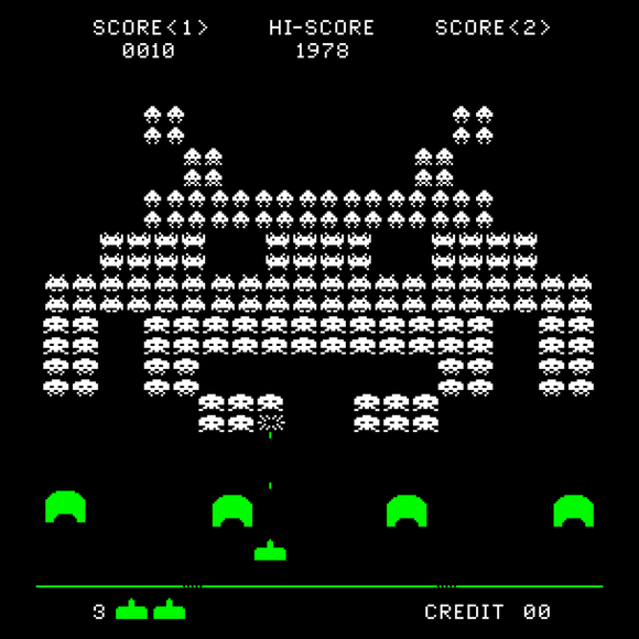 Mega Invader - Video Game Pixel T-Shirts & Retro Gaming Tees! Space Invaders, 1978, 70s, 1970s, Pixel, Alien, Laser Canon, Arcade, Atari, Shooter, Japan, Japanese, UFO, Space, Sci-Fi, Science Fiction, Mega, Large, Giant Alien, Huge Invader, Big, Men, Women, Kids, Clothes, Tees