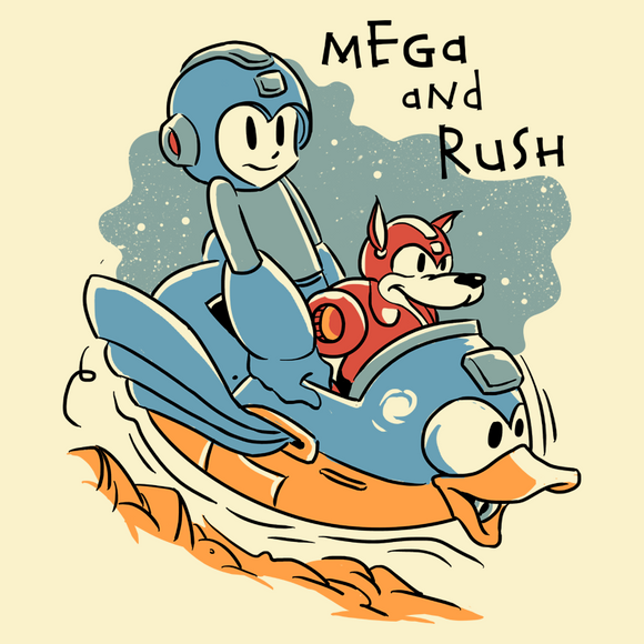 Mega and Rush - Retro and Pixel Video Game T-shirts - Megaman, Rush, NES, Nintendo, Gamer, Slide, SNES, Super Nintendo, Mega Man X, Mega Man X2, Mega Man X3, Mega Man 2, Mega Man 3, Mega Man 4, Blue Bomber, Cartoon, Retro, Jump, Calvin and Hobbes, Unisex T-shirt, Womens, Mens, T-shirt