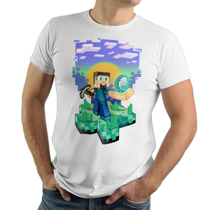 Diamond Digger - Retro and Pixel Video Game T-shirts - Minecraft, Crafting, Cave, Blocks, Digging, Pitchfork, Cubes, Potions, Sun, Happy, Kids, Womens, Mens T-shirt, Stones, Summer, Winter, Blue Sky, Coal, Birthday, Geek, Nerd, Gamer.