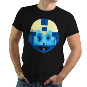 Retro Game Bot - Retro and Pixel Video Game T-shirts - Megaman, Rush, NES, Nintendo, Gamer, Slide, SNES, Super Nintendo, Mega Man X, Mega Man X2, Mega Man X3, Mega Man 2, Mega Man 3, Mega Man 4, Blue Bomber, 8-Bit, Retro, Pixel, Jump Unisex T-shirt, Womens, Mens, T-shirt