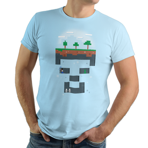The Miner - Retro and Pixel Video Game T-shirts - Minecraft, Crafting, Cave, Blocks, Digging, Pitchfork, Cubes, Potions, Sun, Happy, Kids, Womens, Mens T-shirt, Stones, Summer, Winter, Blue Sky, Coal, Birthday, Geek, Nerd, Gamer.