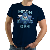 Mega Gym - Retro and Pixel Video Game T-shirts - Megaman, Rush, NES, Nintendo, Gamer, Slide, SNES, Super Nintendo, Mega Man X, Mega Man X2, Mega Man X3, Mega Man 2, Mega Man 3, Mega Man 4, Blue Bomber, 8-Bit, Retro, Pixel, Gym, Power Lift, Fitness Unisex T-shirt, Womens, Mens, T-shirt