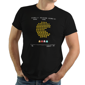 Pacman Invaders - Video Game Pixel T-Shirts & Retro Gaming Tees! Space Invaders, 1978, 70s, 1970s, Pixel, Alien, Laser Canon, Arcade, Atari, Shooter, Japan, Japanese, UFO, Space, Sci-Fi, Science Fiction, Believe, I Believe, Women, Kids, Clothes, Tees