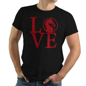 Mortal Love - Video Game Pixel T-Shirts & Retro Gaming Tees! Mortal Love, Fighting Game, Finish Him, Dragon, Heart, Arcade, Fighter, Kang, Sub Zero, Mortal Kombat, MK, Fatality, Blood, SNES, MK2, Raiden, Women, Men, Kids, Tee