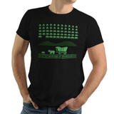 Oregon Invaders - Video Game Pixel T-Shirts & Retro Gaming Tees! Space Invaders, 1978, 70s, 1970s, Pixel, Alien, Laser Canon, Arcade, Atari, Shooter, Japan, Japanese, UFO, Space, Sci-Fi, Science Fiction,  Dysentery , Oregon Trail, Hunt, Ox, Wagon, 1971, PC, Educational Game, Men, Women, Kids, Clothes, Tees