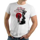 Guardian Under The Sun - Retro and Pixel Video Game T-shirts - FF, Auron, Guardian, Sun, Final Fantasy X, Tidus, Warrior, Summoner Braska, Katana, Sword, RPG, JRPG, Japan, Japanese, Ink Style, Tree, Black And Red Ink, PS2, Blitzball, Spira, Chocobo, Men, Women, Kids