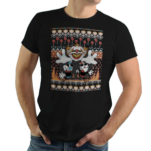 Don't Deal With The Clown - Retro and Pixel Video Game T-shirts - Cuphead, Animation, Xbox, Parody, It, Pennywise, Derry, Mugman, Video Game, Mashup, Nerd, Geek, Clown, Horror, Balloon, Float Down Here, 1930s, Cartoon, Ugly Christmas Sweater, Clown