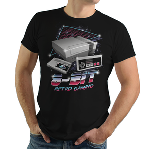 8-Bit Retro Gaming - Retro Wave, Black, Geek, Nerd, Birthday Gift, NES, Nintendo, 1985, Japan, Japanese, Mario Bros, Super Mario, Princess, Bowser, Punch Out, Final Fantasy, Metroid, Samus Aran, Contra, 8Bit, Duck Hunt, TMNT, Friday the 13th, Tetris