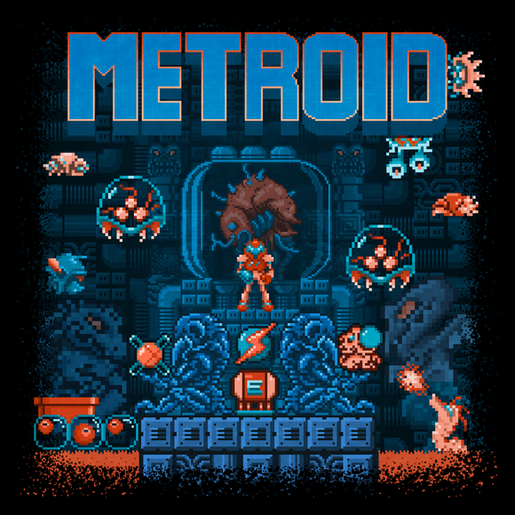 Metroid - Video Game Pixel T-Shirts & Retro Gaming Tees! Gamer, NES, Nintendo, Nintendo Shirts, Pixel, 8-Bit, 80s, 1980s, 1990s, 90s, Retro, Gamer, Metroid, Samus Aran, Varia Suit, Space Pirates, Kraid, Ridley, Mother Brain, 1986, 1980s, Action Adventure, Morph Ball, Screw Attack, Bounty Hunter, Super Metroid, Metroid Prime, Kari LikeLikes, Men, Women, Tank, Long Sleeved