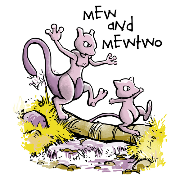 Mew and Mewtwo - Retro and Pixel Video Game T-shirts - Pokemon, PokeBall, Nintendo, Nintendo T-Shirts, Game Boy, Calvin and Hobbes, Parody, Switch, Geek, Nerd, White, Unisex,