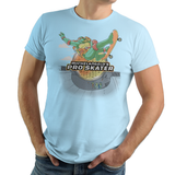 PixelRetro is your best destination for Video Game T-Shirts for Men and Women. Unisex Tee with a great fit. Michelangel's Pro Skater, Tony Hawk, Ninja Turtle Mashup on a Light Blue T-Shirt. TMNT Mikey Skater from Skateboard for PS1, PS2 with a unique look. Tony Hawk's Pro Skater. Online shop only. Soft, durable and high quality cotton. Art By Angdzu.