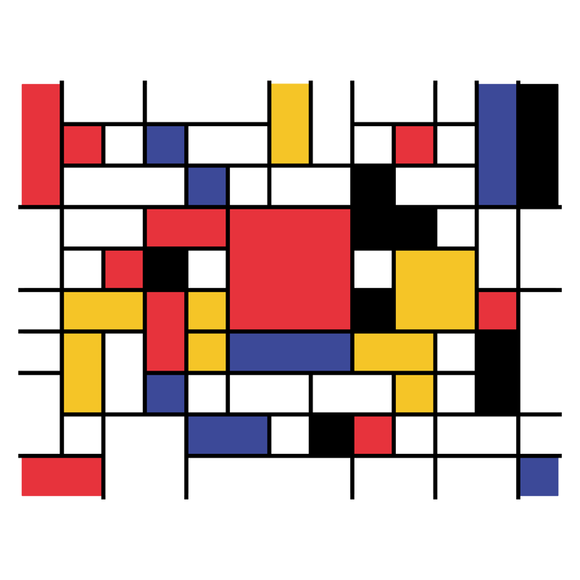 Mondrian Invaders - Video Game Pixel T-Shirts & Retro Gaming Tees! Space Invaders, 1978, 70s, 1970s, Pixel, Alien, Laser Canon, Arcade, Atari, Shooter, Japan, Japanese, UFO, Space, Sci-Fi, Science Fiction, Piet Mondrian, Mondrian, Abstract Painting, Women, Kids, Clothes, Tees