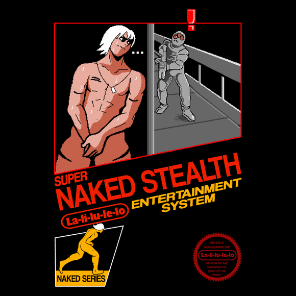 Super Naked Stealth - Retro and Pixel Video Game T-shirts -  Tank, Long Sleeved, Fit, Nintendo, NES, Box Art, Gamer, Mario Bros, Mash Up, Nintendo Black Box, Pixel, Retro, Raiden, MGS, MGS 2, Metal Gear Solid, Naked, Stealth, LaLiLuLeLo, Funny, Comedy, Ninja, Solid Snake, Men, Women, Kids, Tees, Clothes