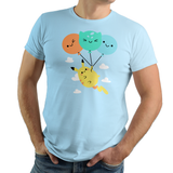 Shop like a gamer. PixelRetro is your best destination for Video Game T-Shirts for Men and Women. Unisex Tee with a great fit. Pikachu from Pokemon on a Crystal or Light Blue T-Shirt. Cute design with a unique look that has Pikachu flying in the air.。