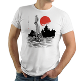 Red Sun Hero - Retro and Pixel Video Game T-shirts - Japan, Japanese, Ink Style, Tree, Black And Red Ink, Zelda, TLOZ, The Legend of Zelda, Link, Princess Zelda, Wind Waker, The King of Red Lions, OOT, Cartoon Link, Majoras Mask, Triforce, Men, Women, Kids