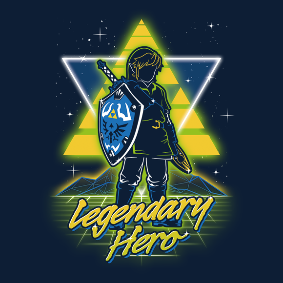 Retro Legendary Hero - Video Game Pixel T-Shirts & Retro Gaming Tees! Zelda, TLOZ, The Legend of Zelda, Link, Princess, Hyrule, OOT, Majoras Mask, Breath of the Wild, SNES, Link to the Past, Ocarina of Time, Wind Waker, Epona, BOTW, Olipop, Retro Wave, 80s, Women, Men, Kids, Cotton, Tank, Long Sleeved, Shirt