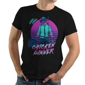 Retro Winner - Retro and Pixel Video Game T-shirts - Retro, 80s, Retro Wave, PUBG, BR, Battle Royale, Shooter, FPS, Winner Chicken Dinner, Frying Pan, PC, Xbox, PS4, PlayersUnkown Battlegrounds, Last Man Standing, PVP, Multiplayer, Gun, T-Shirt, Tee, Tank, Long Sleeved, Men, Women, Kids