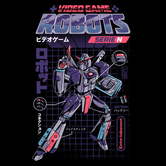 PixelRetro is your best destination for Video Game T-Shirts for Men and Women. Unisex Tee with a great fit. Game Robot, Retro 80s design on a Black T-Shirt. Box Art, NES, Nintendo with a Sci-Fi, Science Fiction look from Japan with Japanese writing. Created with a unique look. Online shop only. Soft, durable and high quality cotton. Art By Ilustrata.