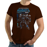 PixelRetro is your best destination for Video Game T-Shirts for Men and Women. Unisex Tee with a great fit. Game Robot, Retro 80s design on a Brown T-Shirt. Box Art, NES, Nintendo with a Sci-Fi, Science Fiction look from Japan with Japanese writing. Created with a unique look. Online shop only. Soft, durable and high quality cotton. Art By Ilustrata.