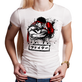 Shop like a gamer. PixelRetro is your best destination for Video Game T-Shirts for Women. Ryu From Street Fighter on a White Fit, Fitted T-Shirt. Ink Design with a unique look.