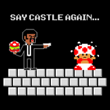 Say Castle Again - Video Game Pixel T-Shirts & Retro Gaming Tees! - Pulp Fiction, Movie, 90s, Jules, Vincent Vega, Movie, Film, Mashup, Super Mario Bros, NES, Nintendo, Castle, Princess, Toad, Say What Again, Say Castle, Nintendo T-Shirts, Pixel, Funny, Women, Men, Kids