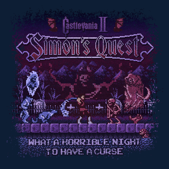 Castlevania 2 - Video Game Pixel T-Shirts & Retro Gaming Tees! NES, Nintendo, Nintendo Shirts, Pixel, 8-Bit, 80s, 1980s, 1990s, 90s, Retro, Gamer, Castlevania, Simon Belmont, Vampire Killer, Dracula, 1988, 1980s, Holy Water, Magic Cross, Platform Adventure, Konami, Simon's Quest, Dracula's Curse, Horrible Night, Kari LikeLikes, Men, Women, Tank, Long Sleeved