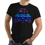 SpaceTro Wave - Retro and Pixel Video Game T-shirts - Retro Wave, Vintage, Classic, Black, Navy, Grey, Geek, Nerd, Birthday Gift, Japan, Japanese, Alien, UFO, 70s, 1970s, Arcade, 1978, Atari, Shooter, Pixel, Space, Sci-Fi, Science Fiction, Men, Women
