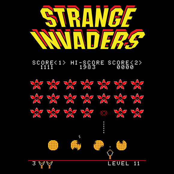 Strange Invaders - Video Game Pixel T-Shirts & Retro Gaming Tees! Demogorgon, Stranger, Mashup, TV Series, Science Fiction, Pixel, 1978, 70s, Alien, Atari, Shooter, 8-Bit, Nerd, Nintendo, Horror, NES, 1980s, Mash up, Space Invaders, Arcade, Stationjack, Tees, T-shirt, Women, Men, Tight Fit, Tank Top, Long Sleeve