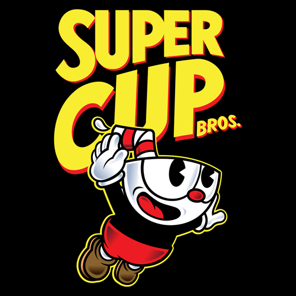 Super Cup Bros - Video Game Pixel T-Shirts & Retro Gaming Tees!   Mashup, Cuphead, Xbox, Mugman, Shooter, Xbox, The Devil, Gamer, Cartoon, 1930s, Indie, Classic, Gamer, Run, Gun, Super Mario Bros 3, Box Art, Parody, NES, Nintendo, SMB, Mario Women, Men, Kids
