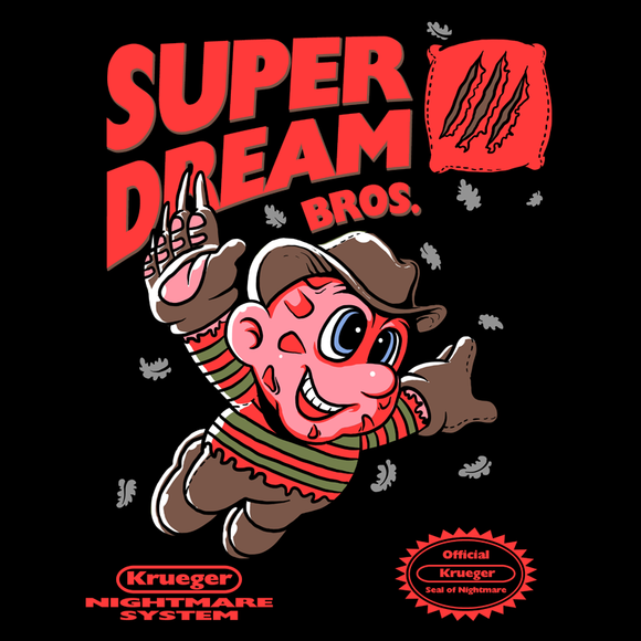 Super Dream Bros - Retro and Pixel Video Game T-shirts -  Tank, Long Sleeved, Fit, Nintendo, NES, Super Mario, Mario 3, Box Art, SMW, Super Mario World, Bowser, Gamer, Mario Bros, Mash Up, Freddy Kruger, Nightmare, Elm Street, Movie, Horror, Classic Horror, Dream, Claws, Men, Women, Kids, Tees, Clothes