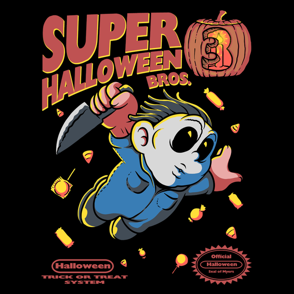 Super Halloween Bros - Retro and Pixel Video Game T-shirts -  Tank, Long Sleeved, Fit, Nintendo, NES, Super Mario, Mario 3, Box Art, SMW, Super Mario World, Bowser, Gamer, Mario Bros, Mash Up, Michael Myers, Halloween, Horror, Slasher, Movie, Film, Pumpkin, Candy, Mask, Men, Women, Kids, Tees, Clothes