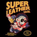 Super Leather Face - Retro and Pixel Video Game T-shirts -  Tank, Long Sleeved, Fit, Nintendo, NES, Super Mario, Mario 3, Box Art, SMW, Bowser, Gamer, Mario Bros, Mash Up, Horror, Slasher, Film, 1974, Parody, Halloween, Massacre, Leatherface, Texas, Chainsaw, Bloody, Cute, Men, Women, Kids, Tees, Clothes