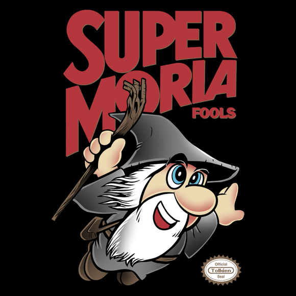Super Moria Fools - Retro and Pixel Video Game T-shirts - Nintendo, NES, Super Mario, Mario 3, Box Art, SMW, Super Mario World, Bowser, Gamer, Mario Bros, Mash Up, Dwarf, Warrior, Beard, Fantasy, Movie, Film, Ring, Wizard, Magic, Fools, Men, Women, Kids, Tees, Clothes