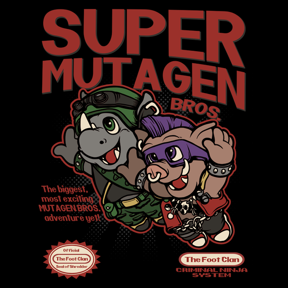 Super Mutagen Bros - Retro and Pixel Video Game T-shirts - Nintendo, NES, Super Mario, Mario 3, Box Art, SMW, Super Mario World, Bowser, Gamer, Mario Bros, Mash Up, Ninja Turtles, Shredder, Rhinoceros, Warthog, TMNT, Bebop, Rocksteady, TMNT2, Turtles, Men, Women, Bad Guy