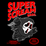 Super Scream Bros - Retro and Pixel Video Game T-shirts -  Tank, Long Sleeved, Fit, Nintendo, NES, Super Mario, Mario 3, Box Art, SMW, Super Mario World, Bowser, Gamer, Mario Bros, Mash Up, Horror, Slasher, Film, Scream, Ghostface, 1996, Parody, Halloween Mask, Cute, Men, Women, Kids, Tees, Clothes