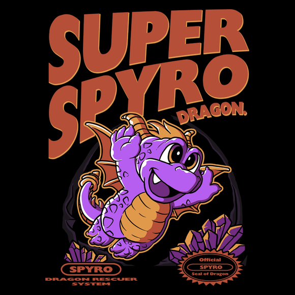 Super Spyro Dragon - Retro and Pixel Video Game T-shirts -  Tank, Long Sleeved, Fit, Nintendo, NES, Super Mario, Mario 3, Box Art, SMW, Super Mario World, Bowser, Gamer, Mario Bros, Mash Up, Spyro, Dragon, Rescue, Cute, Adorable, 1988,  Reignited, Sparx, Eggs, Gems, PS1, Men, Women, Kids, Tees, Clothes