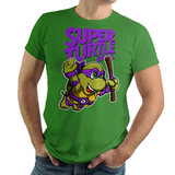 PixelRetro is your best destination for Video Game T-Shirts for Men and Women. Unisex Tee with a great fit. Donnie, Donnatello from Ninja Turtles in his best SMB3 Mash up on a Green T-Shirt. Smashed into a Box Art, Super Mario Bros 3 design with the TMNT Parody look. Part of a Cartoon, NES, Nintendo series for a unique look. Online shop only. Soft, durable and high quality cotton. Art By Punksthetic.